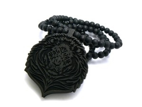 """Black Wood LION FACE Pendant & Chain"