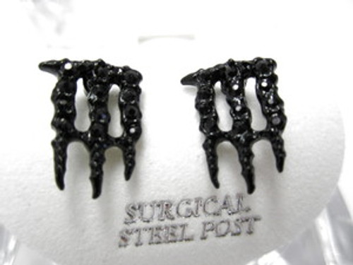 Iced Out Energy Drink Earrings | Black