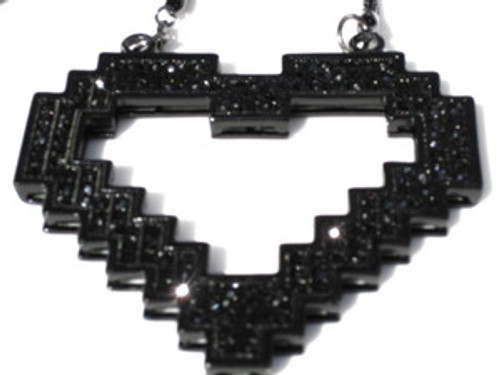 """LMFAO BLACK Heart BIG 4"" Pendant & Chain Set"