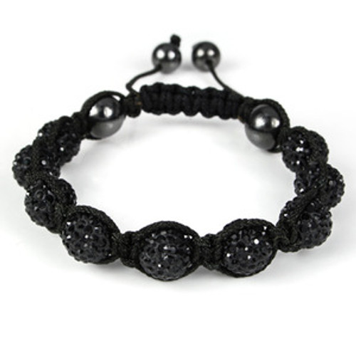 10mm 9 Jet Black Diamond Crystals Shamballa Inspired Bracelet TA17/REG.109.99