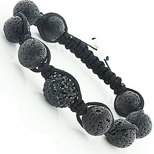 """Black Disco Ball Bracelet: CZ Volcanic Lava Beads Hip Hop Jewelry"