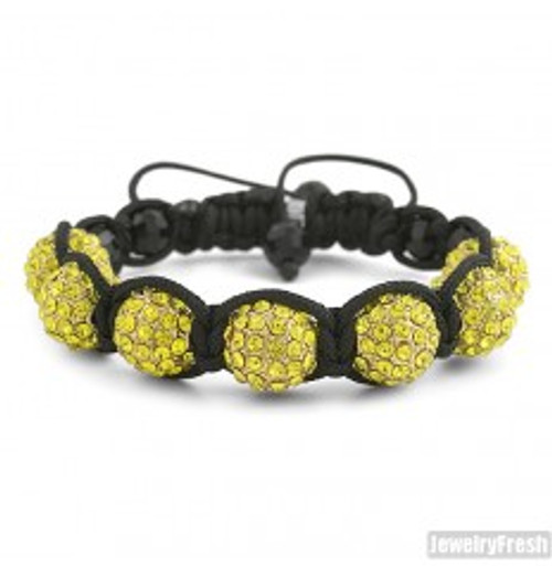 """Canary Gold Discoball Bracelet  12MM Beads $34.95"