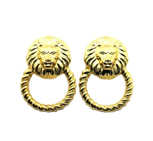 """Rihanna Gold Lion Hoop earrings 14k gold plated"
