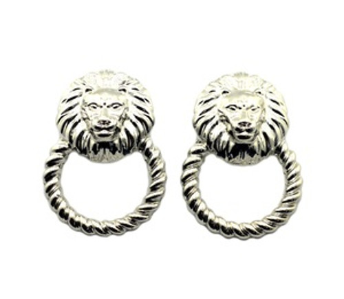 """Rihanna Silver Lion Hoop earrings"