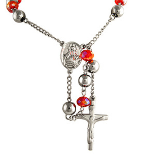 """Silver Rose Red Stainless Steel Crucifix Rosary $34.99_thumb.jpg"