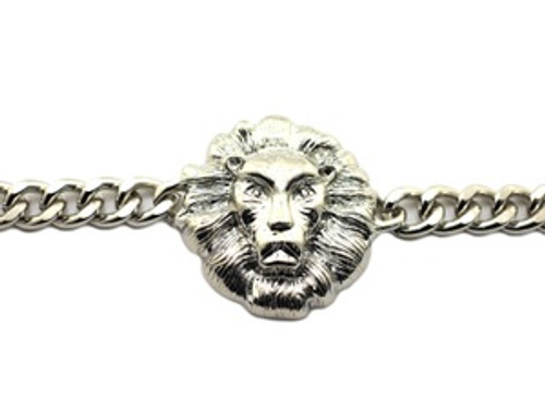 """Lionhead Silver Single Row Bracelet"