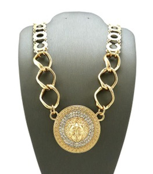 """NEW-Versace style Gold Medal Pendant w/Chain"