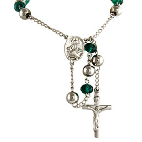 """Silver Crystal Teal Bead Crucifix Rosary"