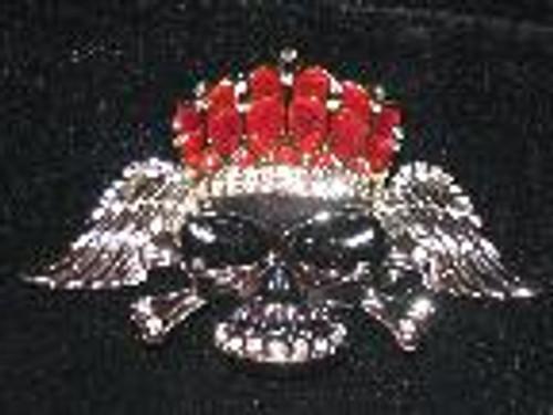 Royal crown skull belt buckle w/ diamonds