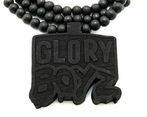 """NEW-Glory Boyz Black Wooden Laser Engraved Pendant"