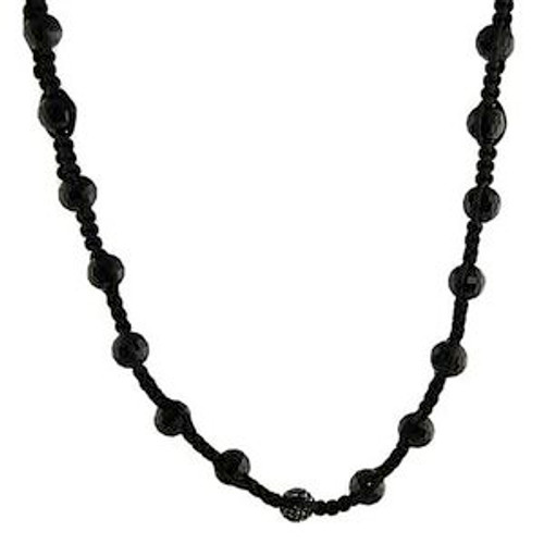 """Classic Black Shamballa bead necklace 36"""