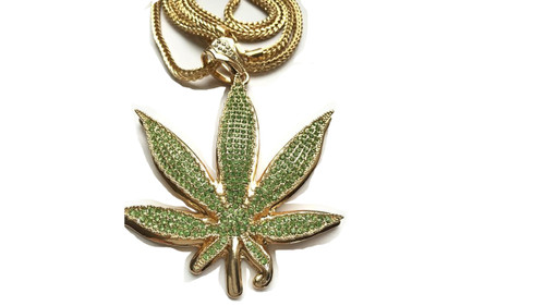 """Marijuana Green WEED Pendant Fully Iced Out w/FREE 36"""" Chain (GOLD) 4""""x 3.5"""""""