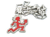 """ICP_red pendant/CLEAR ICE w/FREE36"" Chain"