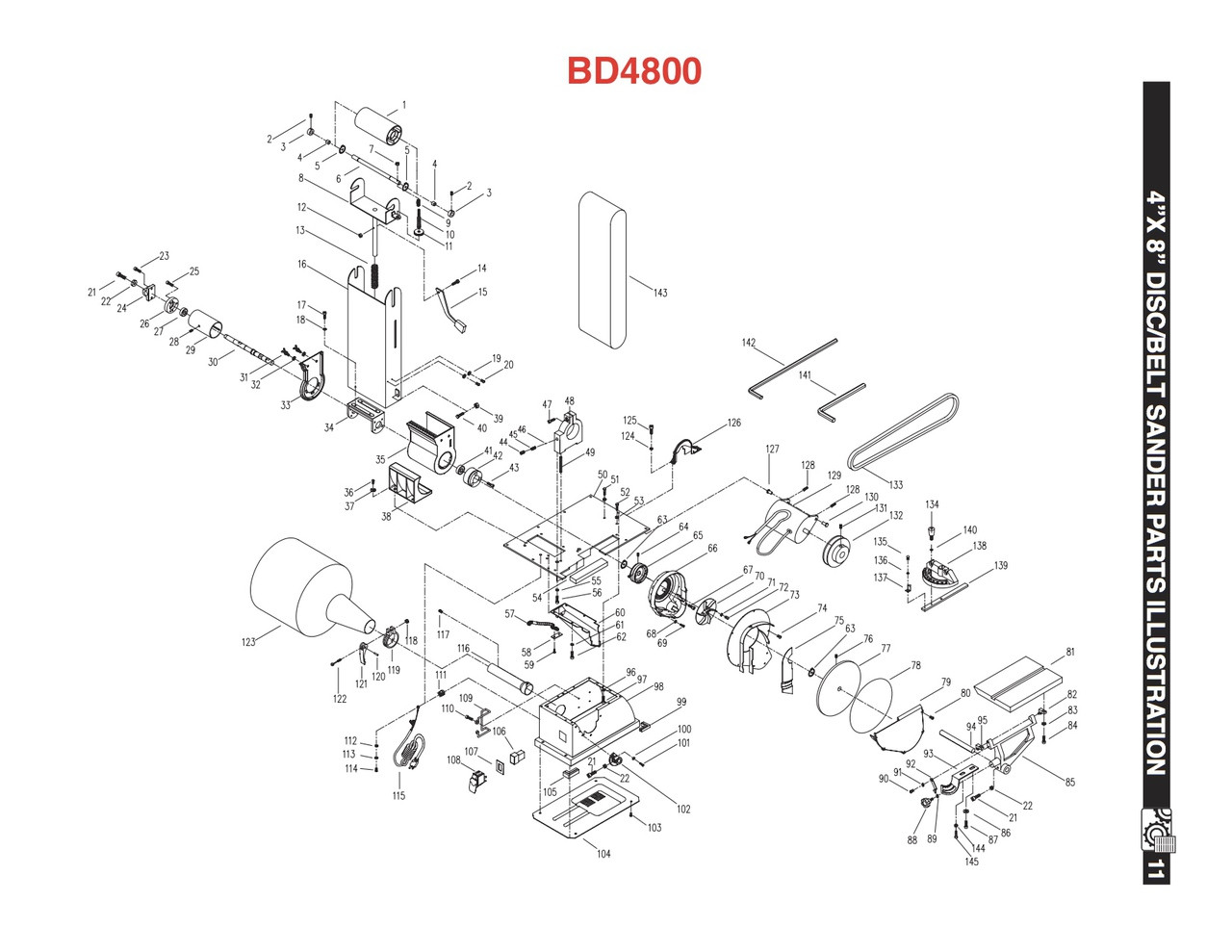 BD4800ISA Idler Drum and Shaft Assembly (KEY#1 to 6