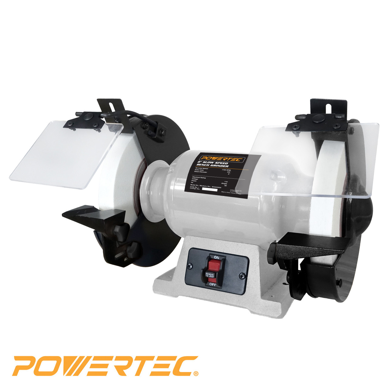 Bgss801 Slow Speed Bench Grinder 8 Inch Powertec