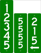 Street Number Sign - Green/White