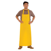 Yellow PVC/Poly Apron With Attached Ties