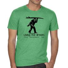 Sasquatch Surfer. Living the Dream men's t shirt. Heather Green