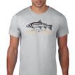 Fish Skeleton Logo T Shirt. Silver Grey