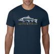 Fish Skeleton Logo T Shirt. Navy Blue