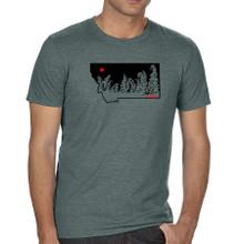 Montana Snow Ghosts T Shirt. Heathered Green