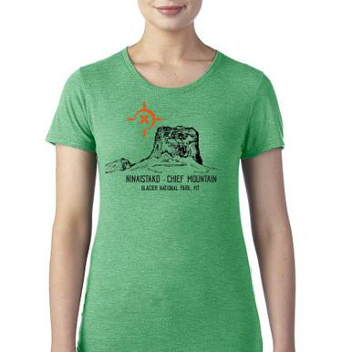 Chief Mountain Ninaistako women's t shirt heather green