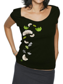 Ginkgo Leaves on Black American Apparel Scoop