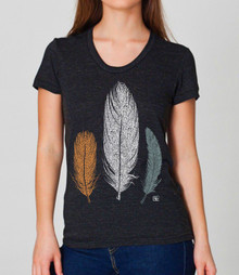 Three Feathers design on womens black Heather, american Apparel T shirt