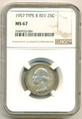 1957 Washington Quarter Type B Reverse MS67 NGC