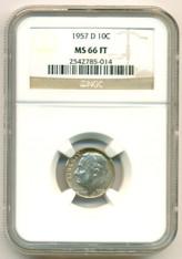 1957 D Roosevelt Dime MS66 FT NGC Color