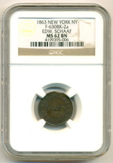 Civil War Token 1863 New York NY Edw. Schaaf F-630BK-2a MS62 BN NGC Clip