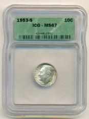 1953 S Roosevelt Dime MS67 ICG
