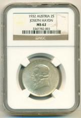 Austria Silver 1932 2 Schilling Joseph Haydn MS62 NGC Key Date