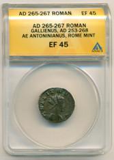 Roman Empire Gallienus AD 253-268 AE Antoninianus EF45 ANACS
