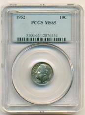 1952 Roosevelt Dime MS65 PCGS Color