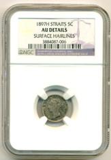 Straits Settlements (Malaysia) 1897 H 5 Cents AU Details NGC