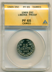 Liberia 1969 25 Cents Proof PF65 Cameo ANACS Low Mintage