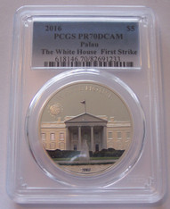 Palau Silver 2016 5 Dollars The White House PR70 DCAM PCGS FS