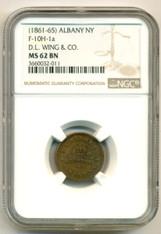 Civil War Token (1861-65) Albany NY D.L. Wing & Co. F-10H-1a MS62 BN NGC