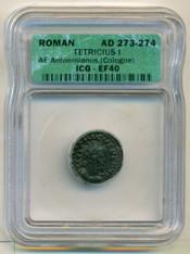 Roman Empire Tetricus I AD 273-274 AE Antoninianus Cologne Mint EF40 ICG