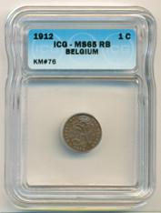 Belgium 1912 Centime MS65 RB ICG