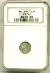 Denmark Silver 1907 10 Ore MS66 NGC