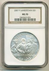 2007 P Jamestown Commemorative Silver Dollar MS70 NGC
