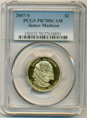 2007 S James Madison Presidential Dollar Proof PR70 DCAM PCGS