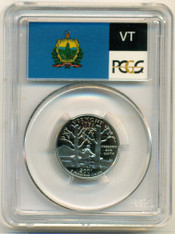 2001 S Clad Vermont State Quarter Proof PR70 DCAM PCGS Flag Label