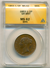 Great Britain 1853 1/2 Penny MS62 BN ANACS