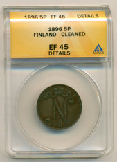 Finland 1896 5 Pennia EF45 Details ANACS