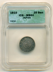 Japan Silver 1910 20 Sen MS64 ICG