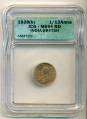 India -British- 1928 (B) 1/12 Anna MS64 RED ICG