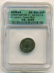Roman Empire Constantine II AD 316-337 AE 20mm rv campgate Treveri Mint AU55 ICG